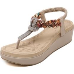 Women's Sandals Bohemian Rhinestone Wedge Casual Outdoor Sandals