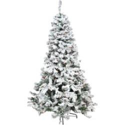 9' Heavily Flocked Pine Medium Artificial Christmas Tree Multi Lights