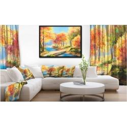 Wooden Bridge in Colorful Forest - Landscape Art Print Framed Canvas