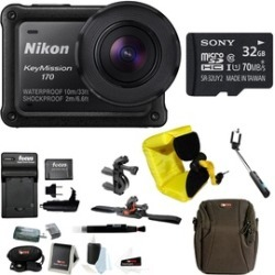 Nikon KeyMission 170 Wi-Fi 4K Action Camera w/ 32GB SD Card & Bike Accessory Kit
