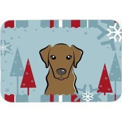 Carolines Treasures BB1730LCB Winter Holiday Chocolate Labrador Glass Cutting Bo