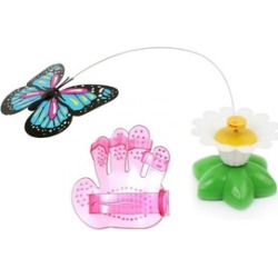 Electric Butterfly Cat Toys With Cat Grooming Brush