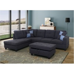 Black & Gray L-Shape Sectional Sofa with Ottoman