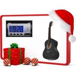 Acoustic Guitar, Guitar Case Strap & Camera Alarm Clock Recorder Free