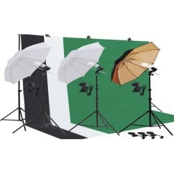 Photography Photo Umbrella Lighting Kit Studio Light Bulb Muslin Backd