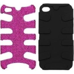 Insten Hot Pink Diamante/Black Fishbone Case For iPhone 4 4S