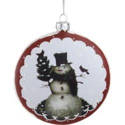"5"" White Burgundy Snowman Cardinals Glitter Christmas Tree Ornament"