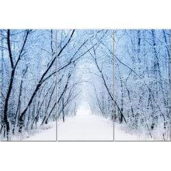"""Split Canvas Art Set 12""""x24"""" 3 Pieces Snowy Forest"""