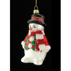"""4.5"""" Glass Snowman with Red and White Scarf Christmas Ornament"""