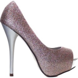 Multi-Glitter Peep Toe Platform Pump Stiletto Heels Womens