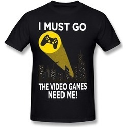 yeaz Unisex I Must Go Video Games Need Me Bat Signal Black Tee