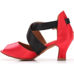"Women's Red Latin Dance Shoes Wide Straps Suede Sole 2.5"" Flare Heels"