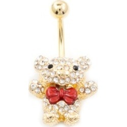 Teddy Bear w/ Red Bow Belly Button Ring Multiple CZ 14G Gold IP