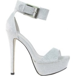 Silver Glittery Ankle Buckle Strap Detailing Platform Pump High Heels