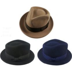 e303c6de53e Men   Women Bugsy Winter Short Brim Fedora 100% Genuine Wool Felt Hat found  on