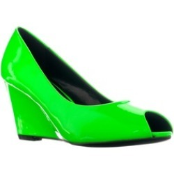 Riverberry Women's 'Dear' Patent Peep Toe Wedge Pumps, Green