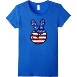 Peace Sign Patriotic USA Flag 4th July Independence T Shirt