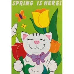 """Embroidered Spring Is Here Garden Flag 12""""X18"""" Cute Cat Tulips"""