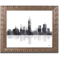 Marlene Watson 'Indianapolis Indiana Skyline BG-1' Ornate Framed Art