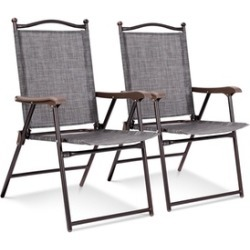 Costway Set of 2 Patio Folding Sling Back Chairs Camping Garden Beach