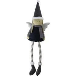 """26.5"""" Sitting Girl Angel with Dangling Legs Glitter Hat Tabletop D""""cor"""