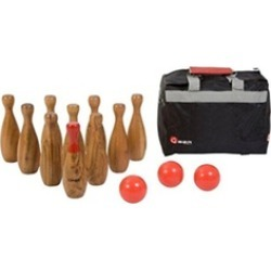 Games Wooden Skittles Bowling Set Hardwood