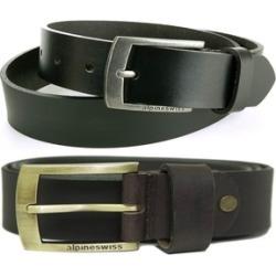 "Alpine Swiss Men's Leather Belt Slim 1 1/4"" Casual Jean Dakota Buckle"