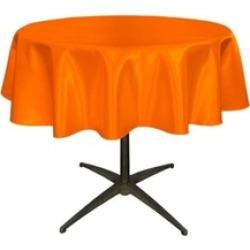LA Linen TCbridal58R-OrangeB48 Bridal Satin Round Tablecloth Orange - 58 in.