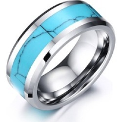 Mens Wedding Band Turquoise Inlay Polished