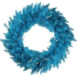 "48"" Pre-Lit Sky Blue Ashley Spruce Christmas Wreath-Clear & Blue Light"