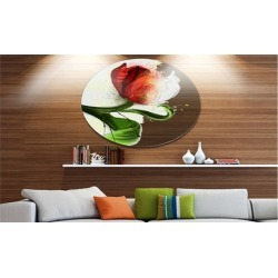Big Red Flower with Green Leaves' Floral Metal Round Wall Decor