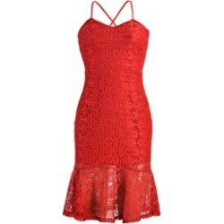 Perfect For Evening Party Red Lace Bodycon Cocktail Party Dress