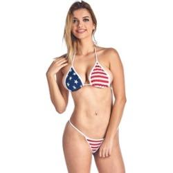 Women's Juniors USA Flag 2-Piece Bikini Micro Thong Swimwear