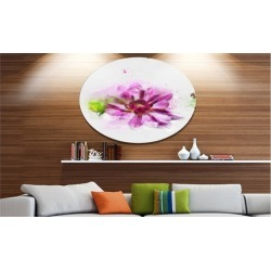 Purple Flower with Green Leaves' Floral Metal Round Wall Decor