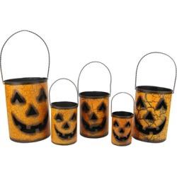 Set of 5 Nesting Luminary Jack-O-Lantern Pumpkin Halloween Baskets