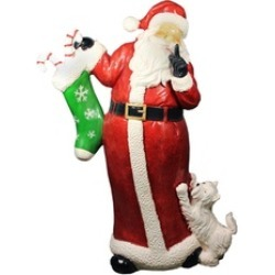 "48.5"" Commercial Size Santa Claus Puppy Dog Christmas Display D""cor"