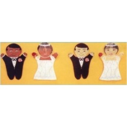 Dexter Educational Toys DEX690W Bride and Groom 2 Piece Puppet Set - Caucasian