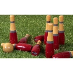 Hey! Play! Lawn Bowling or Skittle Ball Game Set with Wooden Pins, Balls, and Bag
