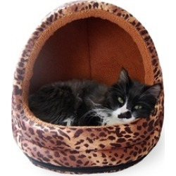 Animal-Print Hooded Dome for Cats and Small Dogs