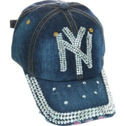 New York NY Rhinestone Studded Frayed Blue Denim Bling Baseball Cap Ad
