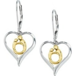 Sterling Silver & 10K Yellow Gold Heart Shaped Mother & Child Earrings