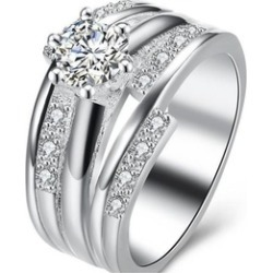 Female Finger Silver Pated Wedding Ring
