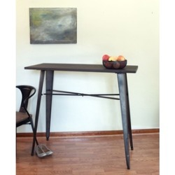 Counter-Height Metal Dining Table with Wooden Top