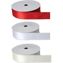 Red White Ivory Single Face Polyester Satin Ribbon Sewing Notions