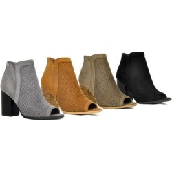 SFD Women's Open Toe Stacked Heels Booties