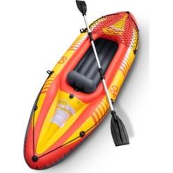 1-Person Inflatable Canoe Boat Kayak Set W/ Aluminum Alloy Oar Hand