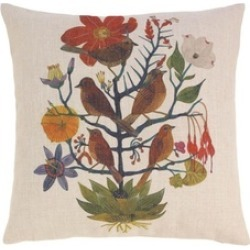 Colorful Flowers and Birds Design Decorative Throw Toss Pillow