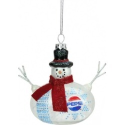 """3.75"""" Snow Filled Glass Country Snowman Pepsi Christmas Ornament"""