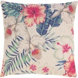 Exotic Island Foliage Flowers Decorative Square Throw Toss Pillow