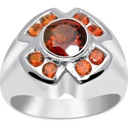 Orchid Jewelry 925 Sterling Silver 2 1/4 Carat Garnet Halo Ring